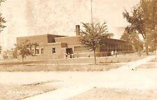 LeMars Iowa~Clark School~Art Deco Building~Kids Outside~Bicycles~Rack~1940s RPPC