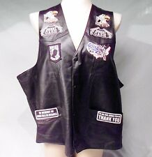 Black Leather Vest by Montana Size 3XL with Motorcycle Biker & POW MIA Patches