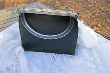 VTG Edwards Handbag Two In One Black Faux Leather Canvas Plastic Handle USA