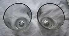 "SET OF CLEAR THICK GLASS GREAT FOR BAR WARE 3 3/4"" TALL INTERESTING BOTTOM"