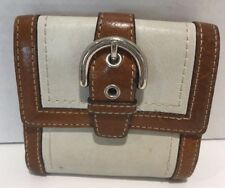 COACH Mini Wallet Off White and Tan Trim Leather.