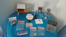 13 Piece Doll House Furniture Lot Lamps Table Chandelier Dishes Coat Rack
