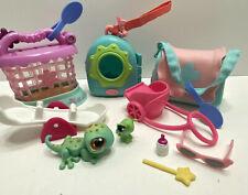 Littlest Pet Shop Lot of 3 Carriers, #111 Red Magnet Br-Eyed Gecko, Caterpillar+