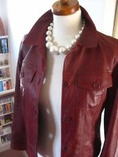 Ladies M&S red leather short fitted JACKET COAT SHIRT denim style size UK 12 10