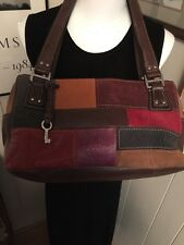 FOSSIL Leather & Suede Patchwork Shoulder Hand Purse Brown Multiple Compartments