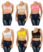 Bauchfreie Ärmellose Markenlose Damenblusen, - tops & -shirts aus Polyester