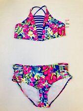 NEW! Juniors Bongo 2 piece Multi-colored Tropical Floral Bikini Size Large