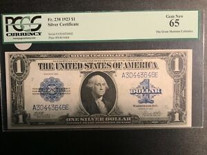 1923 $1 Silver Certificate FR-238 - PCGS GEM NEW 65 The Great Montana Collection