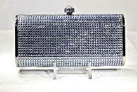 Crystallized Evening Bag Purse Slim Flat  Lt Blue Clutch with Swarovski Crystals