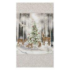 "23"" Fabric Panel - Robert Kaufman Winter White 3 Christmas Forest Scene Ice"