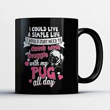 Pug Coffee Mug - Snuggle With My Pug - Adorable 11 oz Black Ceramic Tea Cup - Cu