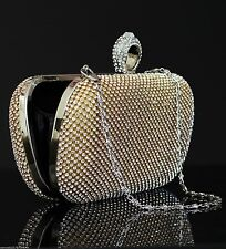 Dazzling  Crystal Ring Diamante Evening Clutch Purse for Wedding & Party