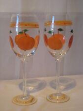 2 Premium Quality Glassware Hand Painted Oranges Stemware Wine Glasses