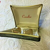 Cavalier Cufflinks Figural Goldtone Scroll in Original Deco Box (without tie bar