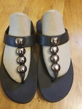 FitFlop Womens Black Leather With Metallic Round Studs Slip-On Sandals Size 10W