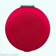 #8931 -- WELLSPRING RED FLORAL EMBOSSED COMPACT 2 MIRRORS ONE MAGNIFIES -WOW!