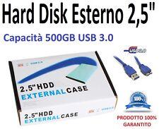 """Hard Disk Esterno 2,5"""" USB 3.0 500GB TOSHIBA Autoalimentato Colore Nero"""
