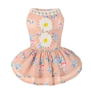 Pet Dog Doggy Puppy  Princess Sunflower Beaded Dress Skirt Tutu Clothes Apparel