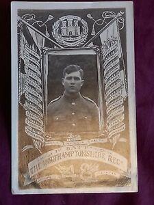 VINTAGE WW 1 ERA REAL PHOTO POSTCARD, YOUNG SOLDIER IN UNIFORM, NORTHAMPTON REGT