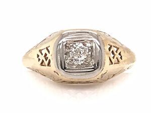 Antique Diamond Engagement Ring .10ct Old Euro 14K Filigree Vintage Art Deco