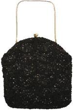Richere Walborg Vintage Purse Black Beaded Sequins Convertible Clutch 1950S
