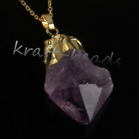 Natural Druzy Amethyst Quartz Stone Crystal With Chain Pendant Necklace Jewelry