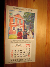 "Vintage 1925 Ketterlinus Lithographers Advertising Calendar 3 1/2"" X 6 1/4"""