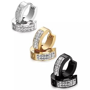 Stainless Steel Men's Women's Solid Sleeper Huggie Hoop Diamond Earrings