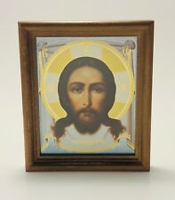"""Jesus Christ Icon in Wooden Frame Covered with Glass Size 5.1""""x 6"""" (13x15.3cm)"""