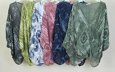 New Ladies Lagenlook Quirky Tie Dye Print Oversized Unusual Wrap Twisted Top