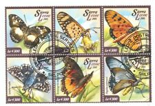 Butterflies insects cto se-tenant block of 6 stamps 2015 Sierra Leone