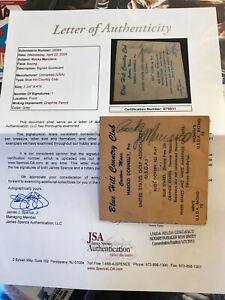 ROCKY MARCIANO d1969 auto JSA James Spence  LOA Signed 4X4 GOLF CARD autograph