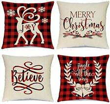 Christmas Pillow Covers 18 x 18 Inches Set of 4 - Xmas Snowman Cover Case Pillow