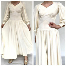 Vintage VTG 1930s 30s 40s Cream Long Sleeve Bridal Embroidered Maxi Dress