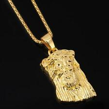 Mens Charm Hip Hop Chain 18k Gold Plated Necklace Jesus Piece God Bless Pendant