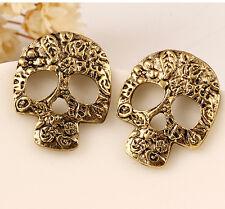 FD2627 Vintage Bronze Plated Hollow Skull Head Earring Stud ~Halloween Gift~