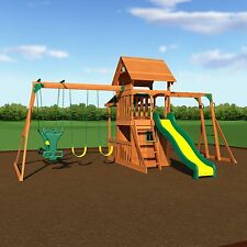 Cedar Wood Swing Set Kids Playground Outdoor Backyard Fort Slide Play House Set
