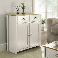 Langdale Cream Oak Sideboard 2 Door 2 Drawer Storage Cupboard Metal Handles