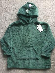 BNWT Boys Girls Kids Green Dinosaur Fleece Hooded Snuddie Oodie Loungewear