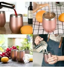 Insulated Wine Tumbler with Lid (rose Metallic) 12 OZ Stemless Stainless Steel