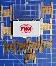 Vintage,TWA,CALENDAR METAL PLATES set,for watch WRISTBAND ,1970, original case.