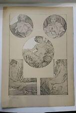 Alphonse MUCHA - Figures DECORATIVES - Lithographie ancienne ART DECO