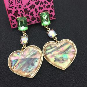 Women's Glass Crystal Shell Heart Betsey Johnson Dangle Earrings