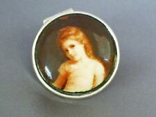 LOVELY 2001 VINTAGE HM STERLING SILVER ENAMEL PORTRAIT HINGED CHERUB SNUFF BOX