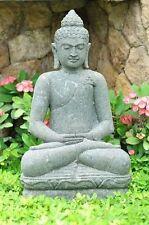 Buddha Naturstein 100 cm XXL Bali Buddha Lavastein Skulptur Steinfigur Garten