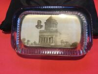 VINTAGE EARLY 1900'S REAL PHOTO GLASS PAPERWEIGHT GRANT'S MONUMENT/TOMB