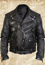 MEN'S GENUINE COW LEATHER MOTORCYCLE BIKER JACKET BLACK,  Size S TO 6XL