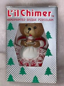 Jasco Christmas Ornament Lil Chimers Handpainted Bear Bisque Porcelain Bell NOS