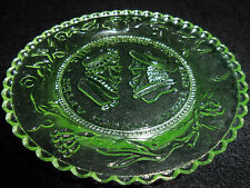 Green Vaseline Wedding day glass plate uranium jewelry saucer yellow art neon NR