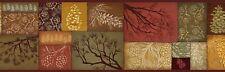 Pinecone Branch Collage Wallpaper Border-- Rustic/Cabin - Rich Earth Tone Colors